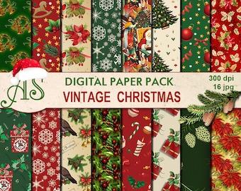 Digital Vintage Christmas Paper Pack, 16 printable Digital Scrapbooking papers, red green Digital Collage, Instant Download, set 237