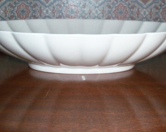 REDUCED: Vintage Royal Copenhagen White  Porcelain China  Fluted  Oval Centerpiece Bowl #3621 made in Denmark