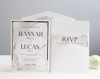 Wedding Invitation, Black and white invitation, Marble Invitation, Wedding Invitations, Gold, White, Black, DEPOSIT to get started