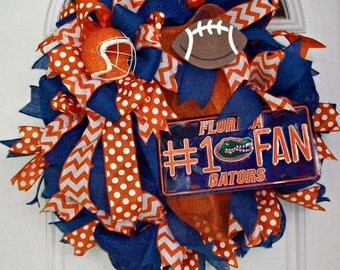 Florida Gators Wreath, University of Florida Wreath, Gators Wreath, Mesh Wreath, UF, Football Wreath, College Wreath, Florida Wreath