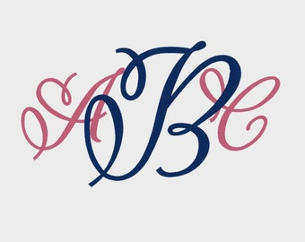 "3 Letter Vine Monogram Embroidery Machine Font in 6 sizes (1"", 1.5"", 2"", 3"", 4"" and 5"") - INSTANT DOWNLOAD - Item #1083"
