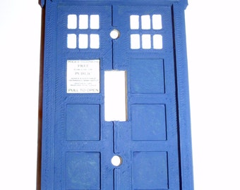 3D Doctor Who Tardis Light Switch Plate - 3D Police Box Light Switch Cover Plate - Raised Tardis Light Switch Plate