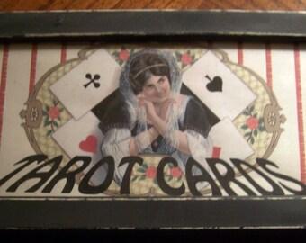 Simple Tarot card wood box fro Halloween display