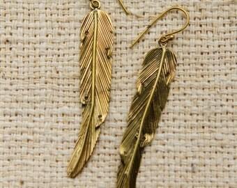 Brass Feather Earrings by GayatriTribalCrafts