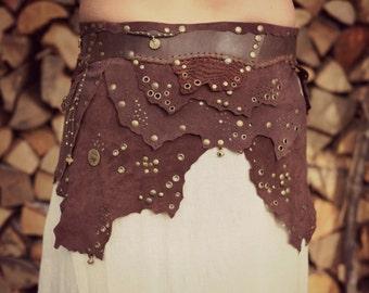 Tribal leather wrap skirt by GayatriTribalCrafts