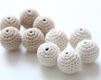 Crochet beads 20 mm 10 PC / Handmade crocheted cotton beads