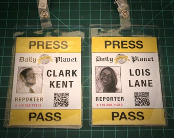 Clark Kent, Lois Lane, Peter Parker or April O'Neil press pass for costume