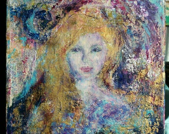 New Year sale Abstract fantasy woman acrylic painting purple blue gold