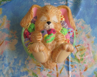 Sleeping Bunny in a Basket of Easter Eggs