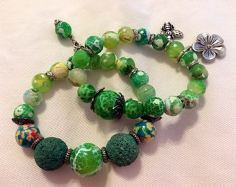 Green stone stacking bracelets