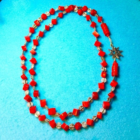 Amazing Red Coral Necklace 45 Inches Free Shipping