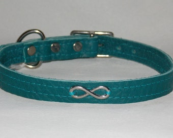 Teal Leather Infinity Collar