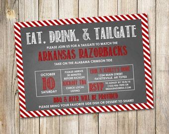 Football Invitation, Tailgating, Tailgate Invitation, Eat Drink Tailgate, Chalkboard, Digital, Printable