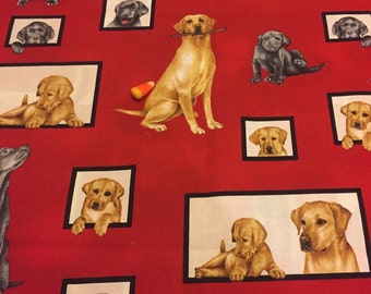 Robert Kaufman curious Canines 3/4 yard on red