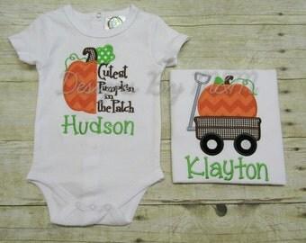 Fall Personalized Pumpkin Shirt or Bodysuit