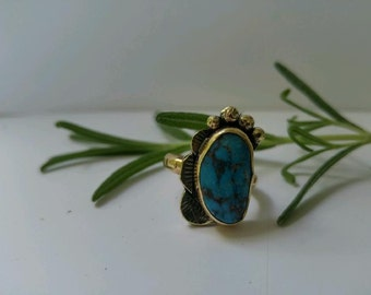 Europa Ring #3| Natural Turquoise & Brass