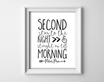 """INSTANT DOWNLOAD 8X10"""" printable digital art file - Second star to the right - Peter Pan quote - white and black - Nursery typography"""