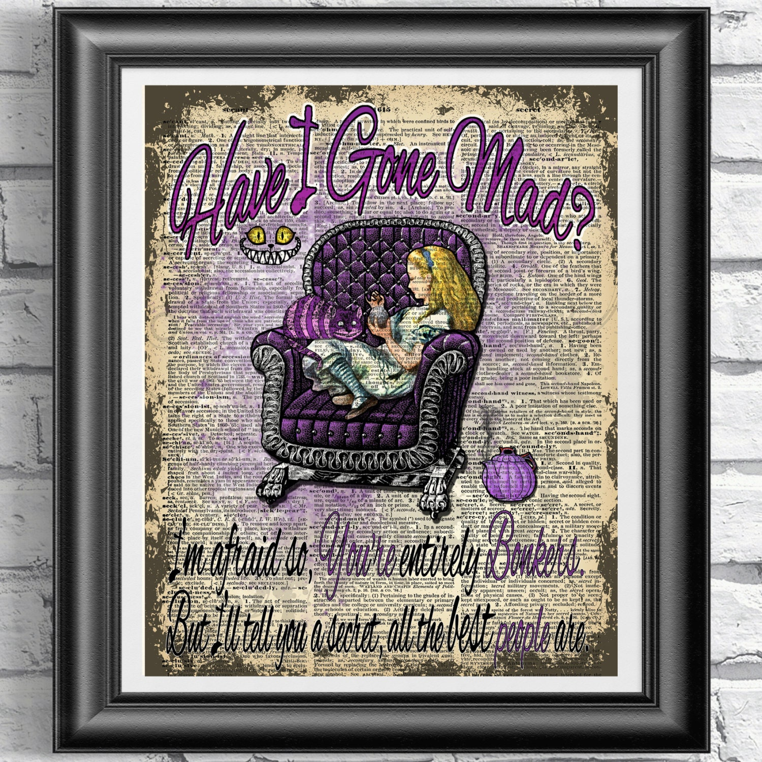 Alice In Wonderland Book Quotes: Alice In Wonderland Print Dictionary Book Page Art Mad Quote