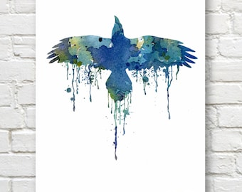 Blue Raven Art Print - Abstract Watercolor Painting - Wall Decor