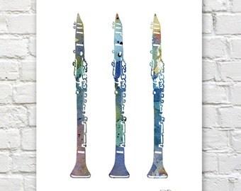 Clarinet Art Print - Abstract Watercolor Painting - Jazz Music Wall Decor