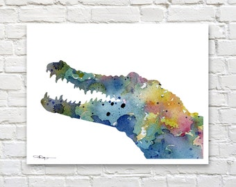 Crocodile Art Print - Abstract Watercolor Painting - Animal Art - Wall Decor