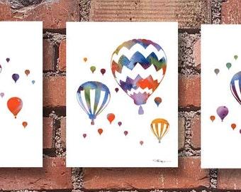 Hot Air Balloons Set of 3 Art Prints - Abstract Watercolor Paintings - Wall Decor