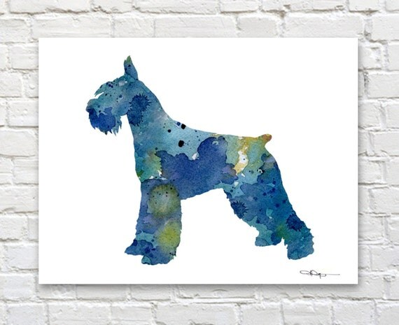 Giant Schnauzer Watercolor Abstract Painting Dog Wall