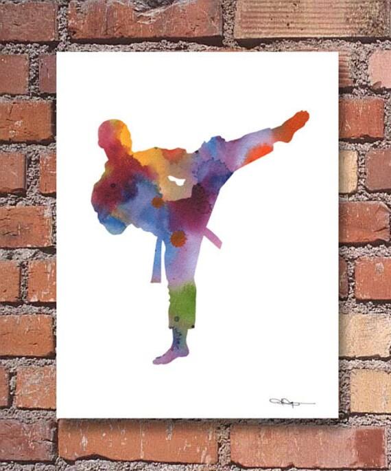 Karaté Art Print - peinture aquarelle abstraite - Wall Decor