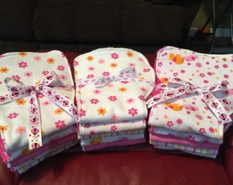 Pink & White Burp Cloths Ready To Ship