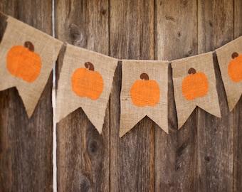 Pumpkin Burlap Banner-Farmhouse Fall Burlap Banner-Thanksgiving Banner-Fall Banner-Halloween Banner