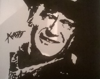 John wayne handpainted canvas made to order a4 size