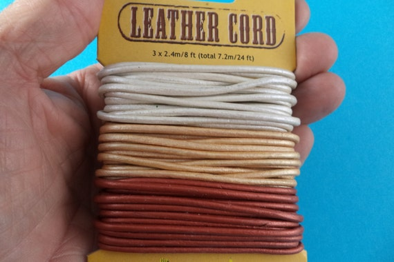 Three 8 Foot Lengths Of 2 Mm Round Leather Cord For Your