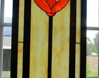 """Stained Glass Window Panel  """"Craftsman's Flower"""" Framed"""
