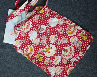 Tote bag with frills tea time and cakes red