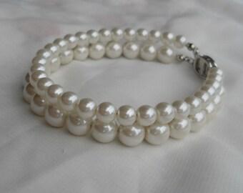 Ivory Pearl  Bracelet, Pearl Bracelet,2 Strands Pearl Bracelet,,Wedding Jewelry,Pearl Jewelry,Bridesmaid Bracelet,Glass Pearl Bracelet,