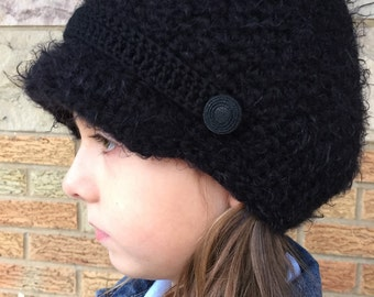 Black Cap Beanie Hat, Teen and Adult Hat, Winter Hat