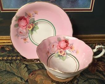Paragon pink tea cup and saucer