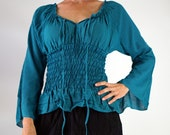 LS PEASANT BLOUSE - Pirate Renaissance Festival Costume Chemise Gypsy Top Pirate Steampunk Shirt Corset Long Sleeves Top - Teal Blue