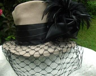 "STUNNING ""ORIGINAL"" WW2 1940's Merrimac American Grey & Black Tilt Hat"