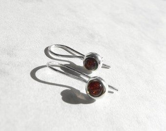 Classic Earrings, Round Amber Earring, 925 Sterling Silver Earrings, 925 Silver Kidney Ear Wires, Amber Jewelry, Fashion Accessories, Atigga