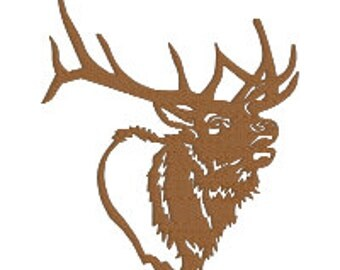 BUY 2, GET 1 FREE - Elk Silhouette Filled Machine Embroidery Design in 3 Sizes - Colorado, Estes Park, Nature, Animal, Hunting
