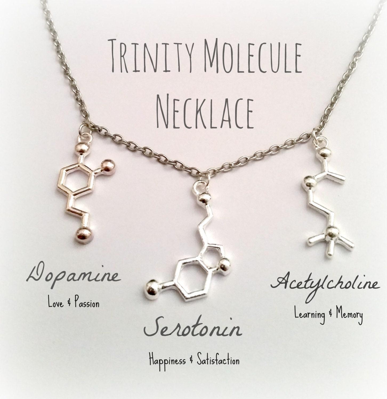 Molecule Jewelry Dopamine Serotonin Acetylcholine DNA Necklace