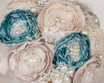Fabric and Brooch Wedding Bouquet, Teal, Cream and Champagne, Satin, chiffon and Lace Bouquet, vintage inspired