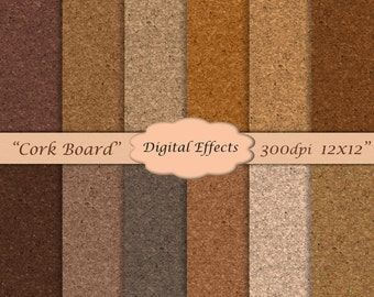 "CORK Digital Paper Pack, Cork Texture Digital Paper,12x12"", Cork Scrapbook Paper, Brown & Tan Digital Paper, Commercial Use Ok"