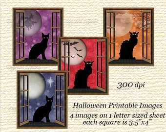 HALLOWEEN Digital Collage Sheet, Black Cat Halloween Tags, Black Cat Silhouette Black Cat Images,Halloween Labels,Printable Halloween Cards