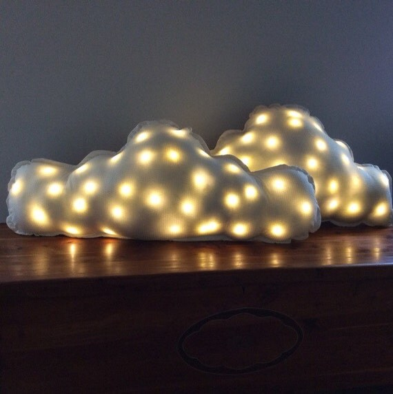 Cloud Pillow Set of Two, Pair of Large White Throw Pillows with Remote Control Ambient Lighting Night Light Pillow, Cloud Shaped Back Pillow
