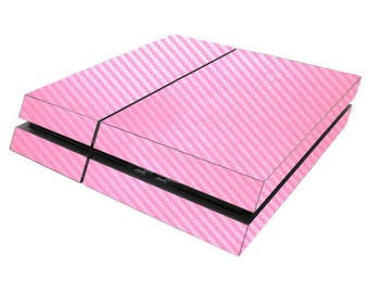 Pink Carbon fiber Protective PS4/CONTROLLER vinyl skin wrap. 1x console 2x controller skin, free shipping