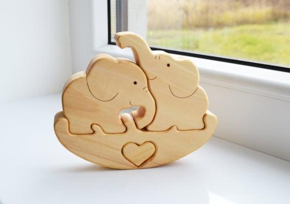 Puzzle Toy Elephant Wooden Puzzle Elephant Educational