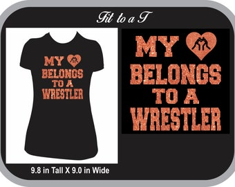 My Heart Belongs to a Wrestler T-Shirt, Wrestling Girlfriend T-Shirt, Wrestling Gift, Wrestling Fan Wear