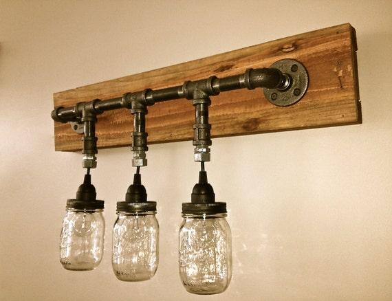 Upcycled Vanity Light : Items similar to Mason Jar Vanity Light- Mason Jar Wall Light Fixture- Wall Light- Vanity ...